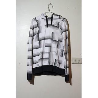 NITRO 白色 線條圖案 連帽外套 T恤 運動休閒 L號 gap h&m zara uniqlo