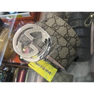 GUCCI PVC 411924 咖啡色雙G logo 皮帶100 40 1