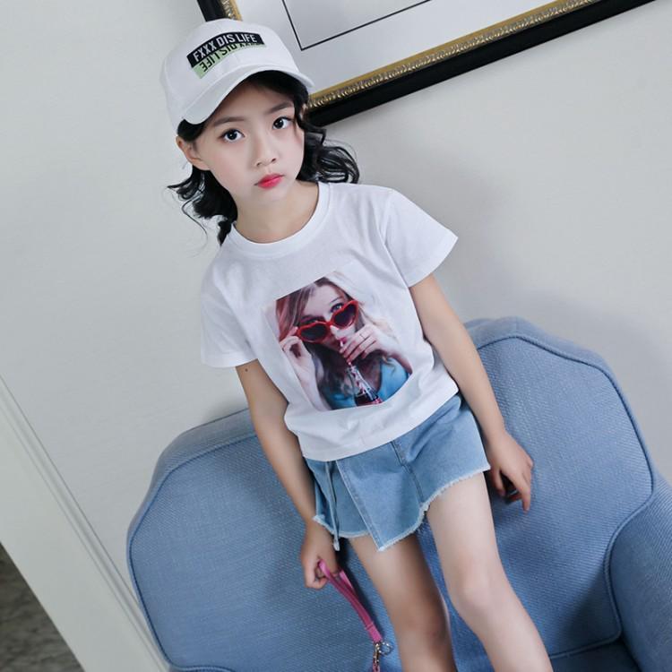 女童夏款套裝寬鬆 中大兒童女童可樂美女T 恤 短袖女童T 恤短褲套裝 女童T 恤快
