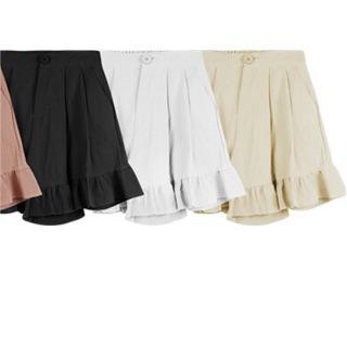 荷葉短褲 褲裙 白色