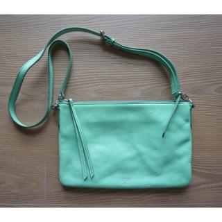 二手—九成新—FOSSIL 淺綠色 肩背包 側背包 扁包