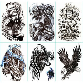 【CH】紋身貼半臂防水男女持久手臂龍關公仿真身體彩繪刺青貼紙熱銷包郵