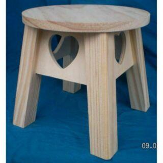 白松木心型小圓板凳 椅子 小木椅 圓木椅
