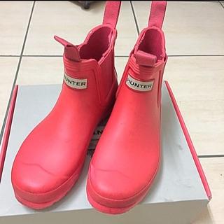 Hunter 桃紅色低筒雨鞋雨靴