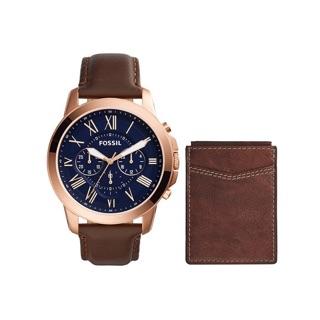 FOSSIL 古典伯爵三環計時網路獨家限量套錶-玫瑰金框藍/44mm FS5188SET