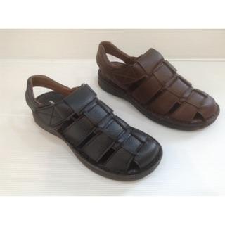 台灣製現貨MIT前包後空透氣皮質魔術貼涼拖鞋-男平價高CP型男時尚