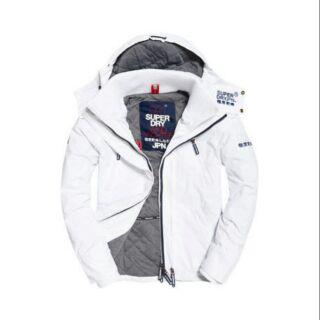 白色 女子 Superdry 極度乾燥防風防水外套