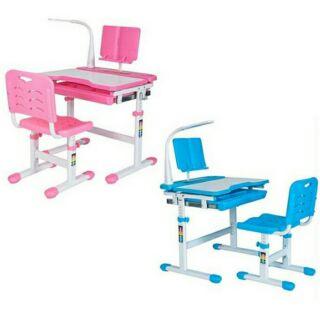 國城-兒童家教學習書桌(粉色/藍色)多功能升降調整,配置檯燈。