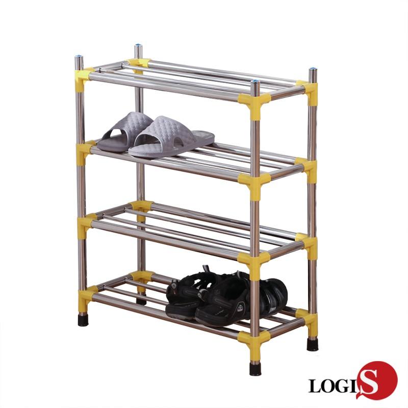 LOGIS 四層不鏽鋼鞋架EM-YE4 層數自由搭配 拖鞋架 多層鞋架 三層 門廳 鞋櫃