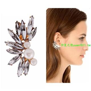 e433速賣通熱銷耳夾 歐美時尚潮范珍珠鑲嵌樹葉寶石耳夾