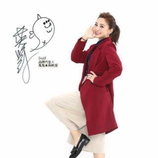 MARJORIE 長板西裝修身外套 紅