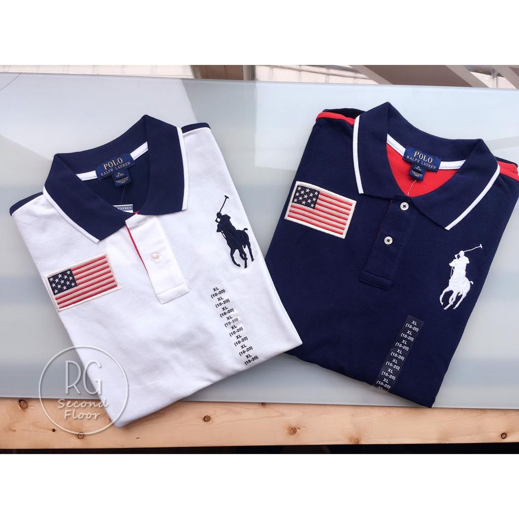 【瑞捲斯高雄店】Polo Ralph Lauren 國旗手臂雙色款 大馬青年POLO衫 美國專櫃公司貨