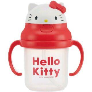 日本進口 Hello Kitty造型頭蓋 彈蓋式 彈跳式 吸管杯