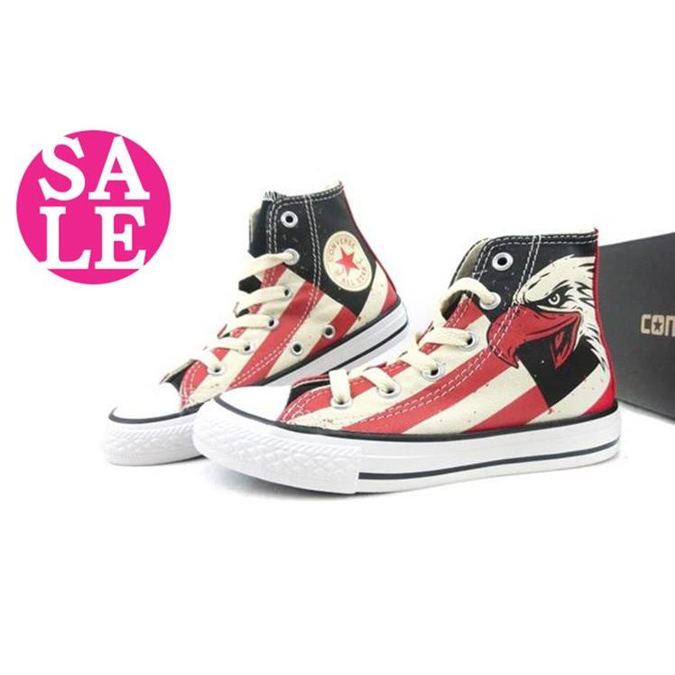 小朋友童鞋親子館◆All STAR★Converse帆布鞋 中童 美式老鷹圖騰高筒帆布鞋 零碼出清 G9805#黑紅