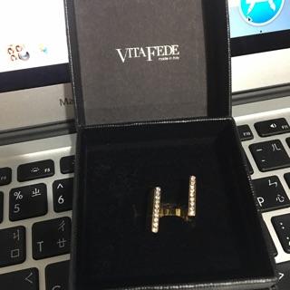 二手 VitaFede 水鑽金色個性戒指