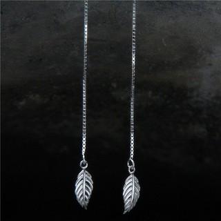 梵銀飾品韓國氣質森系嫩葉耳線純銀S925 長款文藝小清新