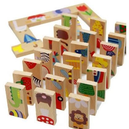 ~積木益智玩具ACE~ 外貿28片 塊動物接龍拼圖多米諾 兒童 骨牌 木制玩具 早教