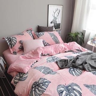 北歐秋冬加厚水晶絨床包組 床單被套枕套 ikea hola 珊瑚絨 法蘭絨 粉色 葉子 優雅 浪漫 保暖