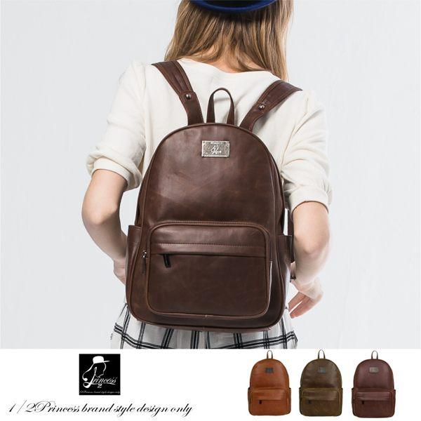 後背包1/2princess品牌復古仿舊皮革大容量背包 [A2577]