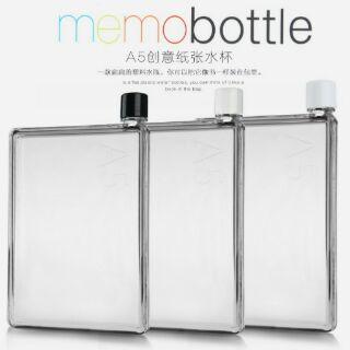 時尚扁型冷水壺。memobottle 無毒透明380ML 水瓶 時尚環保 隨手杯 扁型 攜帶方便