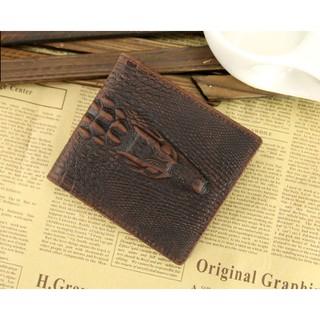 (現貨)瘋馬皮系列真皮個性鱷魚紋對折拉鍊零錢包男短夾