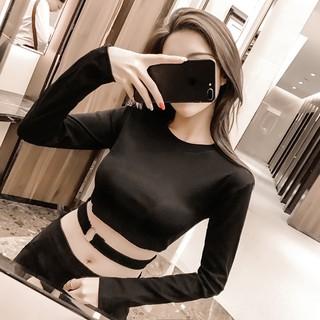 長袖短版短板露腰露肚子露肚臍綁帶鐵環 性感 風鏤空表演長袖素色貼身合身緊身修身上衣衣服性感