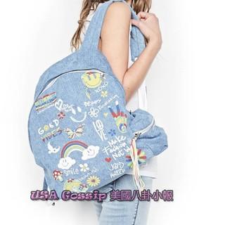 ㊣ 美國八卦小報 ㊣ Lauren Moshi 限量新款 藍色單寧塗鴨款牛仔後背包 現貨在台