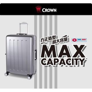皇冠Crown 24吋旅行箱 超輕大容量硬殼PC鋁合金框飛機輪 行李箱 登機箱 (CFD133)