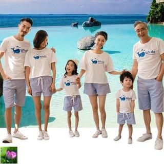 海邊母女夏裝卡通休閑親子裝夏季四口六口全家庭嬰兒套裝爺爺奶奶