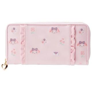 日本美樂蒂MELODY粉紅刺繡長皮夾