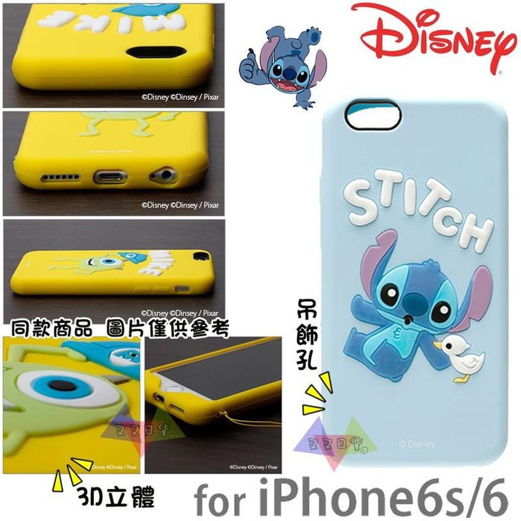 叉叉日貨 迪士尼星際寶貝史迪奇與小鴨iPhone 6 6s 4.7吋立體3D手機保護殼矽膠 日本正版【ip30441】