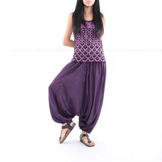 Unic@泰國進口素面飛鼠褲 異國風 民族風長褲 大尺碼可穿『100%嫘縈棉_超柔』 ~男女可紫PM128 素面