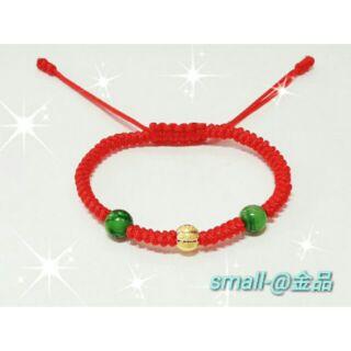 small-@金品-純金紅繩Baby鑽沙球手錬,彌月 、滿月金飾-純金9999-0.09錢-免運費