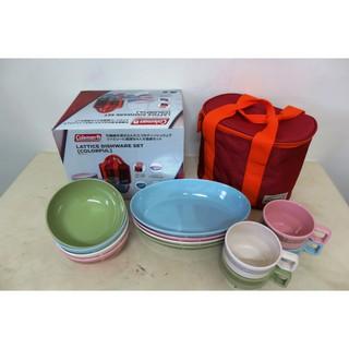 Coleman 美國 晶格餐盤組 《彩色》CM-26766/餐盤組/餐具組/戶外餐具