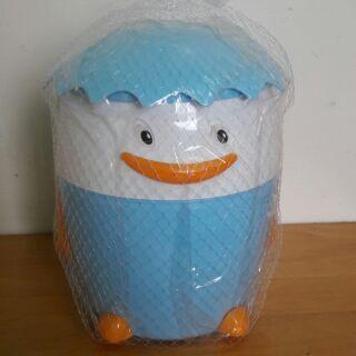 卡通企鵝塑料圓形衛生桶紙簍衛生間腳踏帶內桶翻蓋垃圾筒
