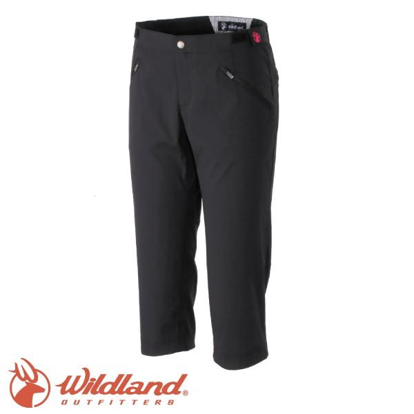 [現貨]Wildland 荒野 女款 彈性時尚抗UV七分褲 黑/彈性長褲/抗UV長褲/ 0A31371-54