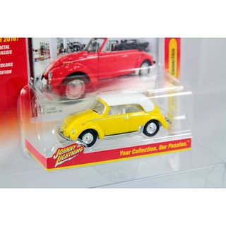 Johnny Lightning 1/64 模型車 福斯 金龜車 敞篷 1975 Volkswagen Super Beetle Convertible 黃色款