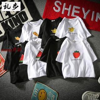 現貨大甩賣韓版小清新學生休閑短袖T-shirt西瓜草莓香蕉水果印花T恤情侶裝潮