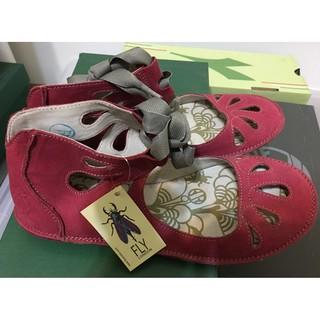 [全新]FLY LONDON 珊瑚紅 羊皮洞洞鞋 36號