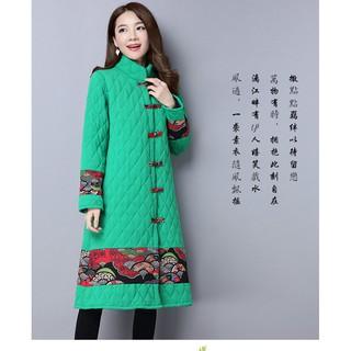 2018中國風秋冬大碼女裝新款 胖mm加厚保暖棉衣百搭寬鬆顯瘦外套 中國風棉襖
