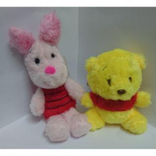日本代購_小熊維尼與小豬絨毛娃娃_迪士尼系列