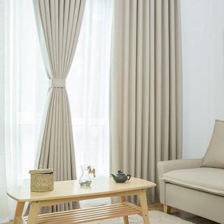 旺角。尚街簡約現代純色棉麻窗簾成品亞麻布料全遮光布臥室200*270