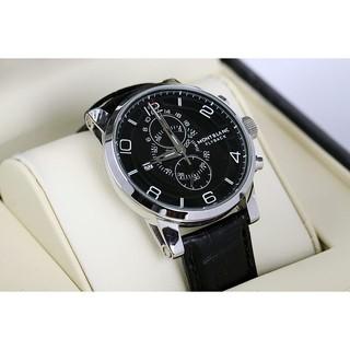 全新MONTBLANC 萬寶龍手錶 男士手錶 男錶 FLY BACK 黑面黑錶帶 機械錶 男錶萬寶龍手錶