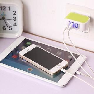 【5色】3孔USB充電頭 智能手機平板充電器通用多口旅行插頭 iPhone7/8 plus