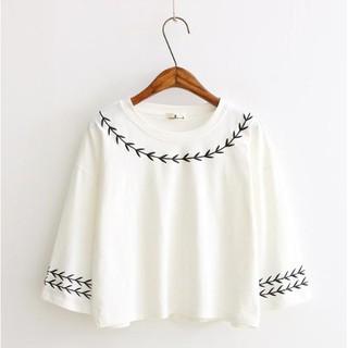 寬鬆T恤 绣花短袖t恤超經典素T純棉短袖韓系上衣純色短袖印花學生t女士圓領上衣