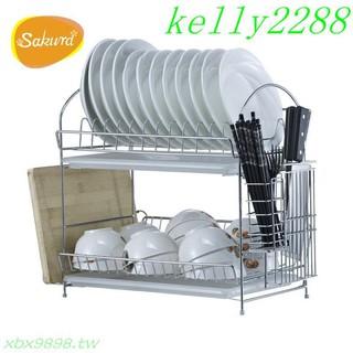 835yg雙托盤廚房收納雙層滴水瀝水架碗碟架瀝水架刀架砧板置物收納架子