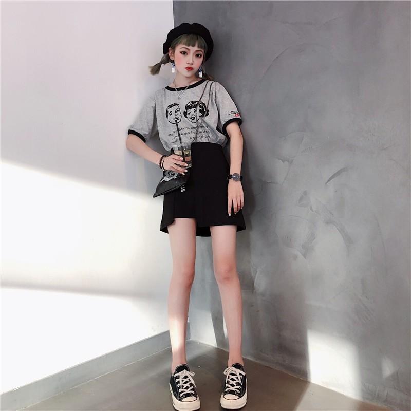 VK精品服飾 美式復古卡通印花顯瘦圓領短袖上衣