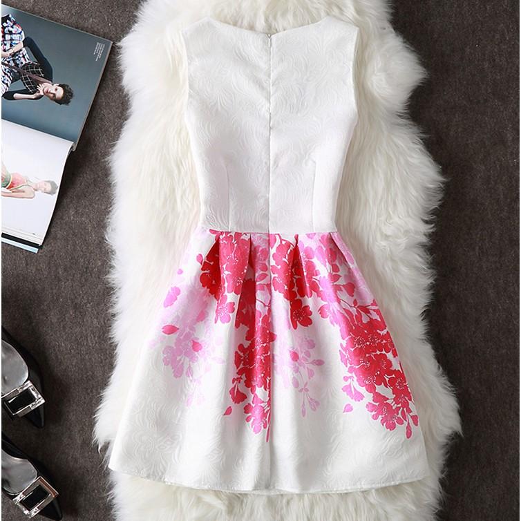 VK精品服飾 浪漫氣質提花復古印花顯瘦蓬蓬裙無袖洋裝
