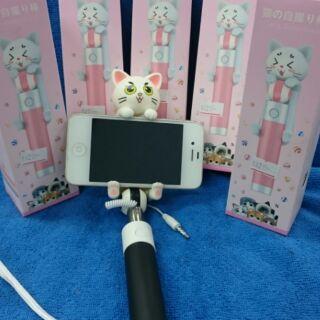 超級無敵可愛小貓自拍棒3.5mm 線控自拍桿/自拍棒/伸縮棒/自拍神器