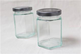 玻璃六角瓶195CC_銀蓋_RP29-S◎玻璃.六角.玻璃瓶.收納.瓶罐.糖果.餅乾.軟糖.零食.包裝.銀蓋